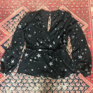 ASOS black sheer wrap top w/ silver glitter stars